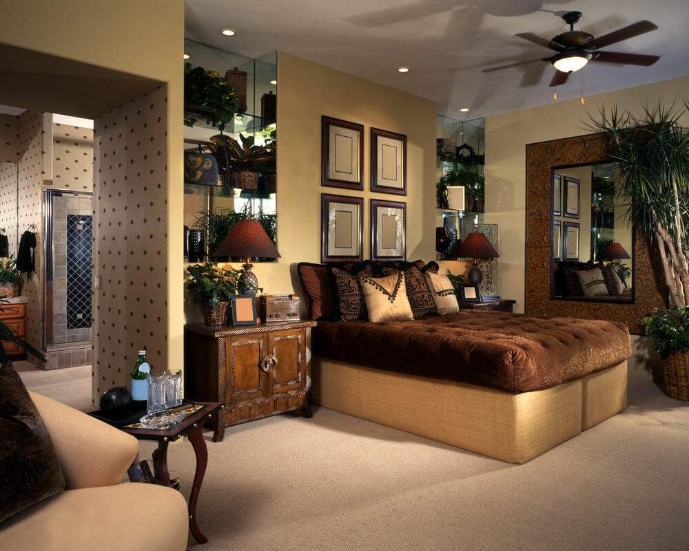 Master bedroom paint ideas with accent wallpaper for bathroom
