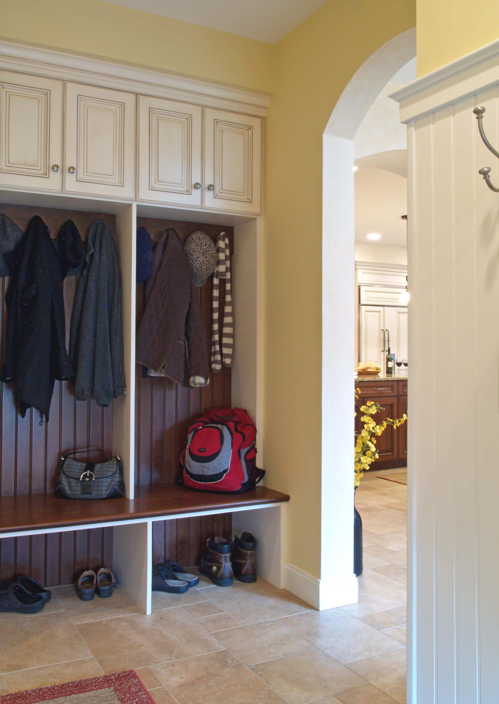 Monterey entryway cubbie shelf with coat hooks