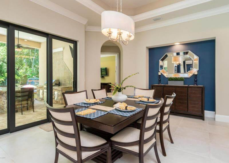 Dining Room Design Blue Accent Wall