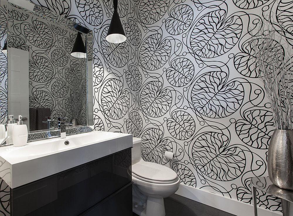 Bathrooms Black White Wallpaper