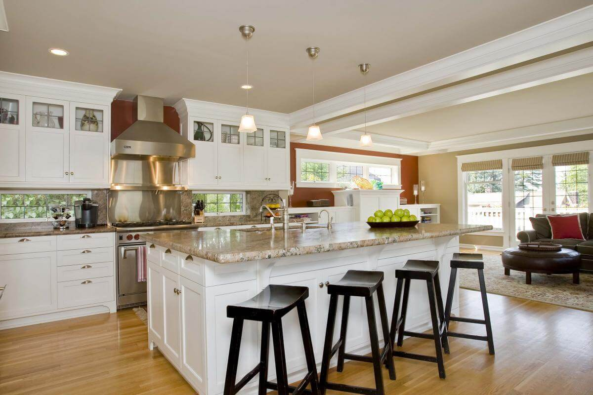 Modern Kitchen Island with Stools