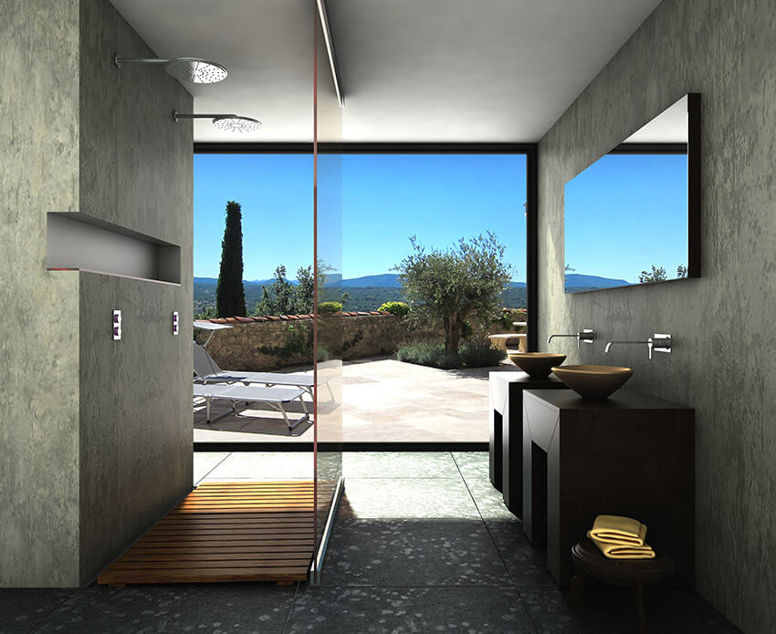 amazing bathroom with sweeping views