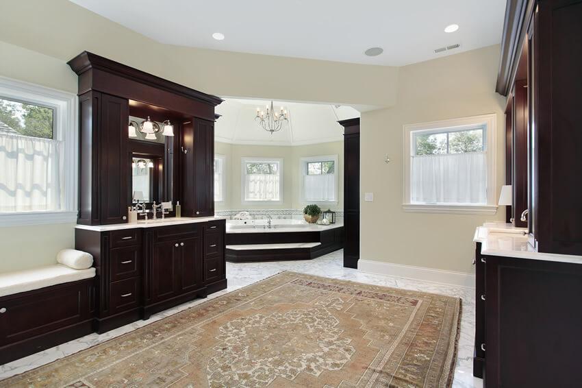 Bath dark wood cabinetry separate tub room