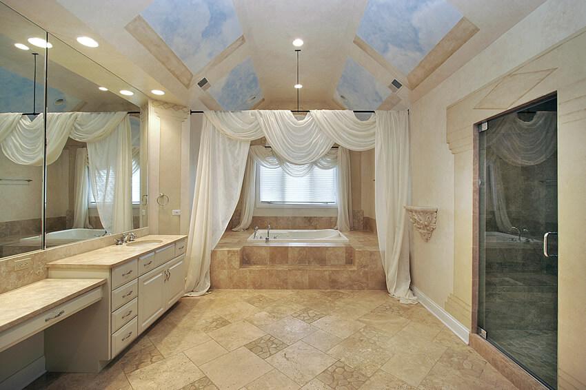 Bath room sky ceiling design mural white drape