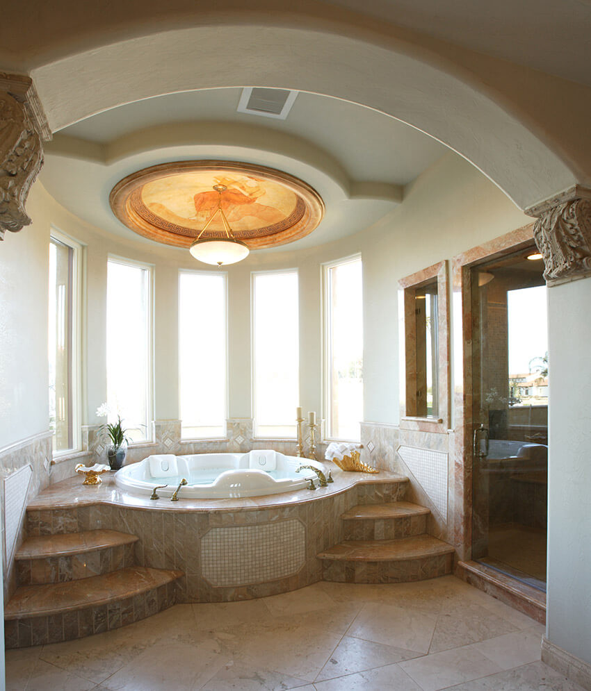 bathroom with elegant domed ceiling