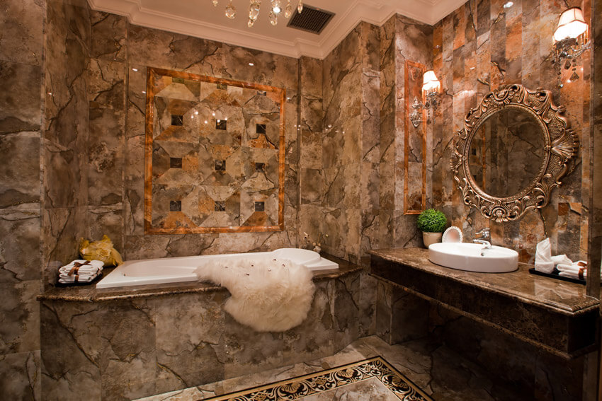 bathroom with luxury tile brown theme