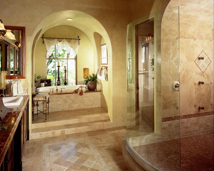bathroom with luxury tilework