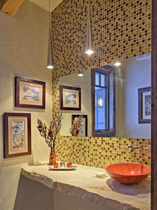 Bathroom with Mosaic Tile and Brushed Metal Pendant Lights
