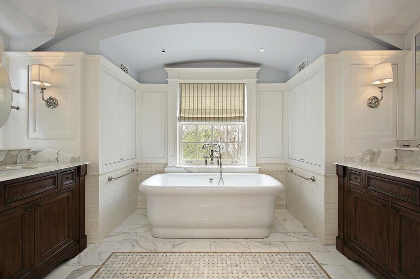 Bathroom with roman style bath