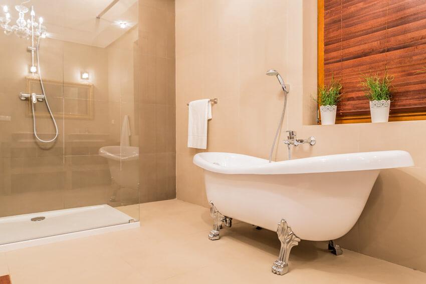 beautiful claw foot tub in bathroom