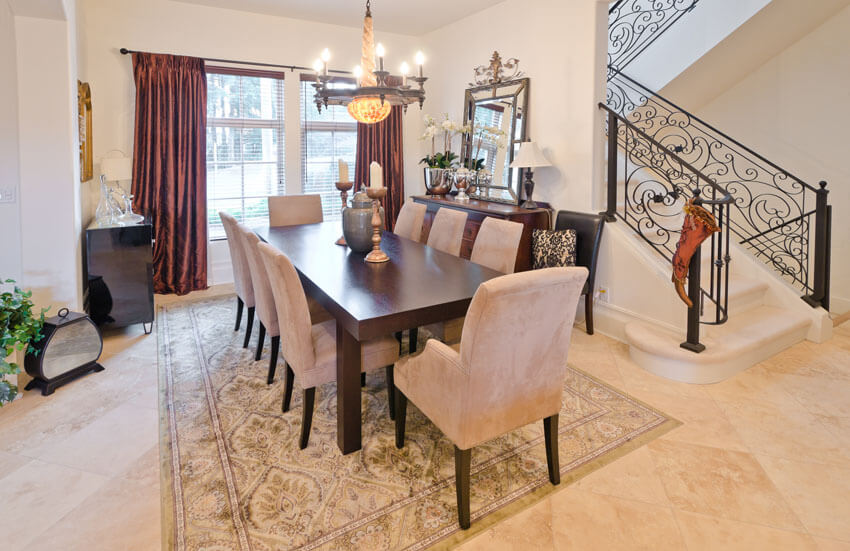 beautiful dining room with cream chairs