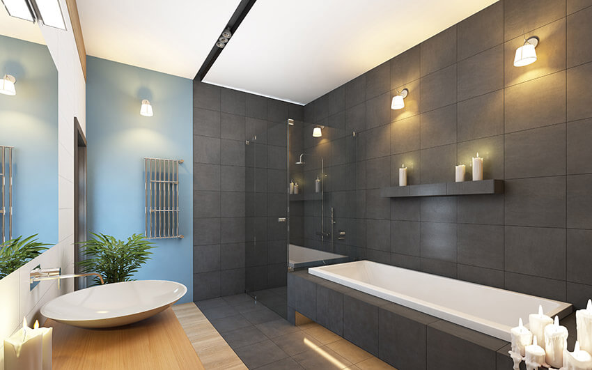Bathroom in Grey and Blue Colors