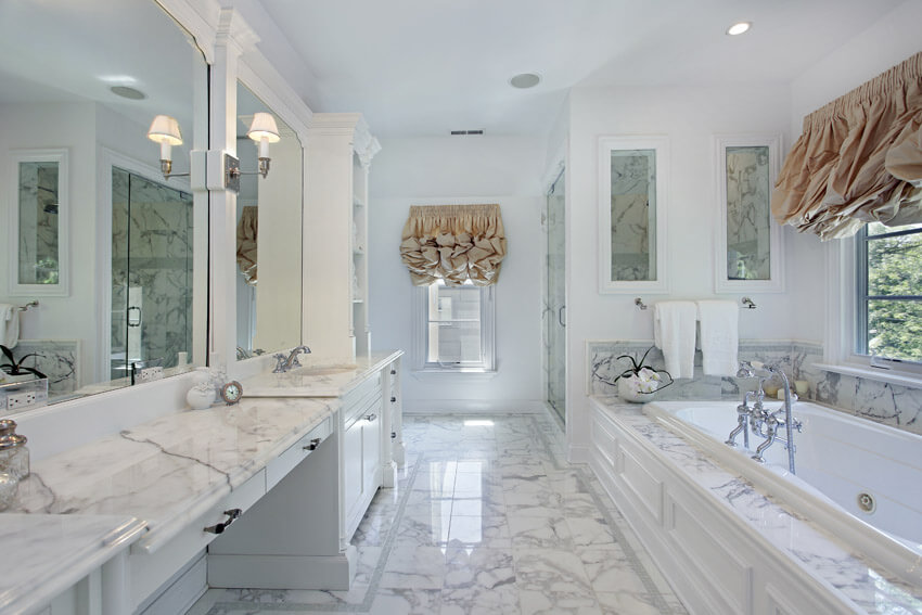beautiful white bathroom in marble