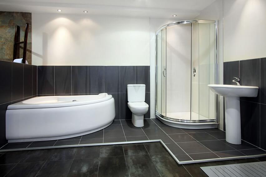 Black Tile Bathroom White Shower Bath Sink