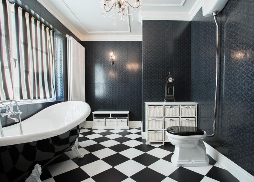 Black White Bathroom Stripes Checker Pattern