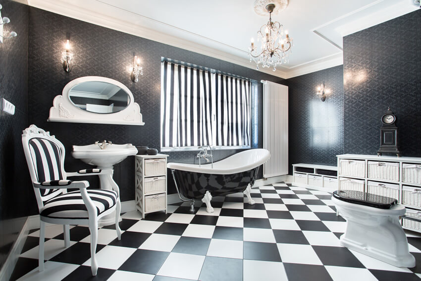 Black White Modern Bathroom Checker Style