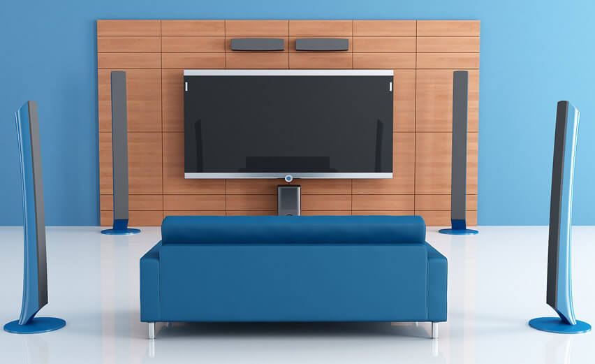 Blue Home Theater Room With Surround Sound