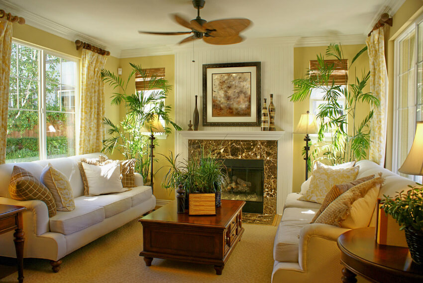 Bright Tropical Themed Living Room With Fan