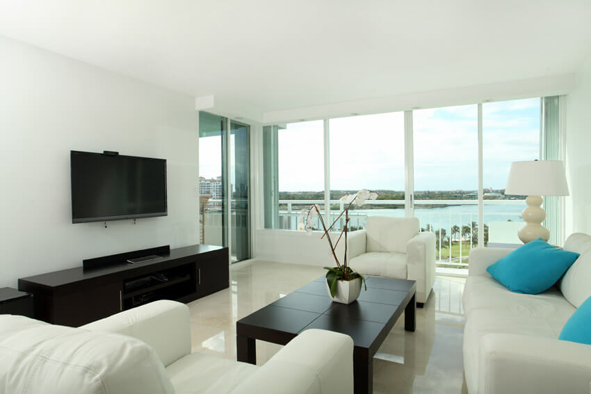 Bright Waterfront Living Room Space