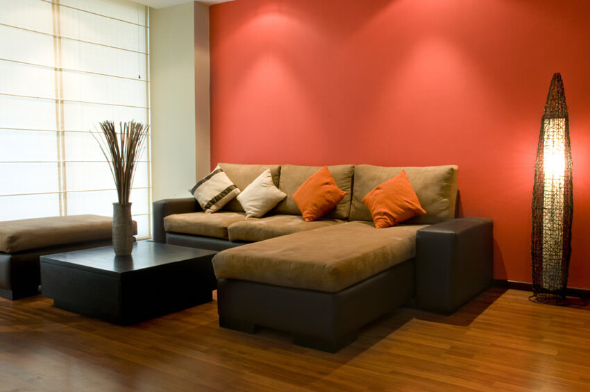 Brightly Painted Living Room With Modern Furniture