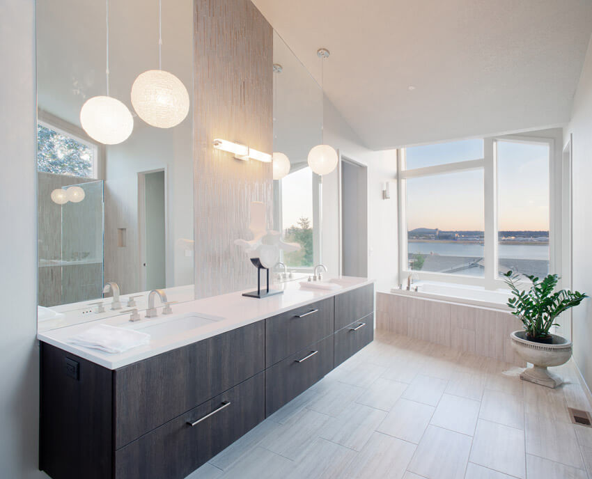 clean design white bathroom with lake view