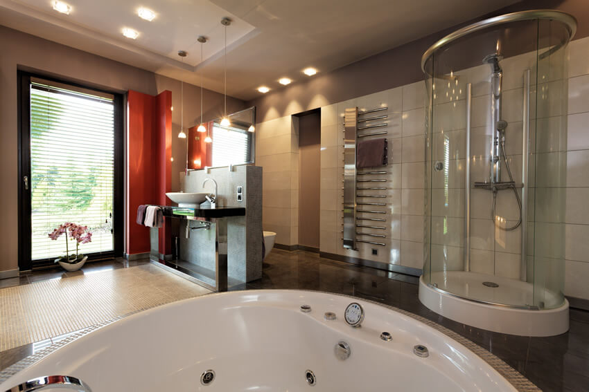 Contemporary bath cylinder shower jacuzzi tub