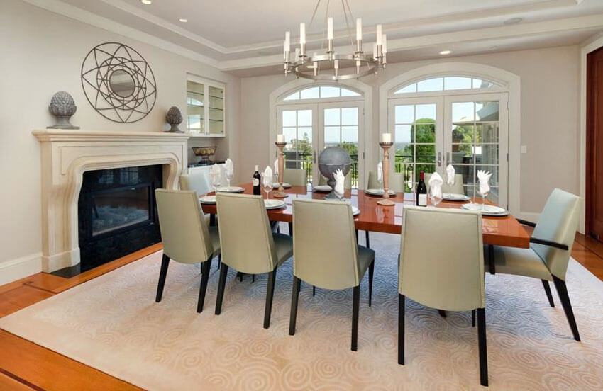 contemporary dining room with fireplace