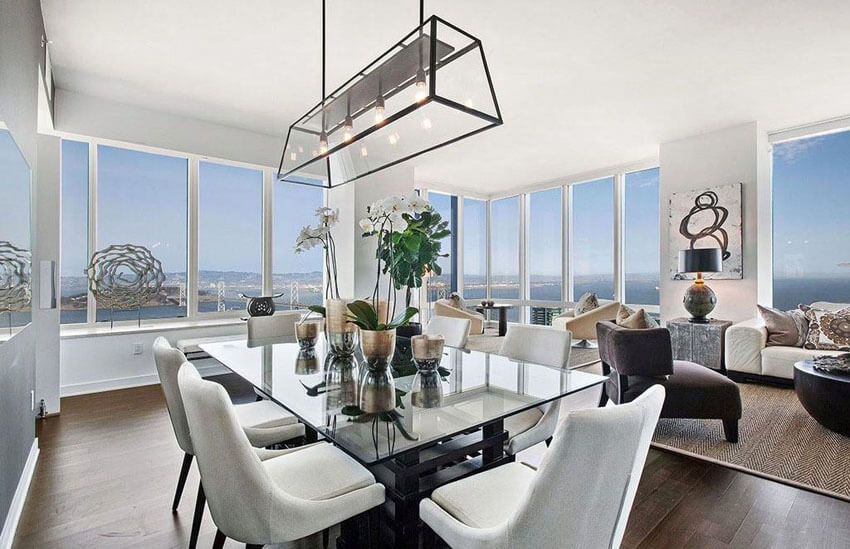 contemporary dining room with ocean views