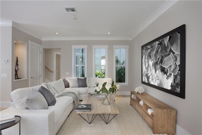 Contemporary Living Room With Crown Molding