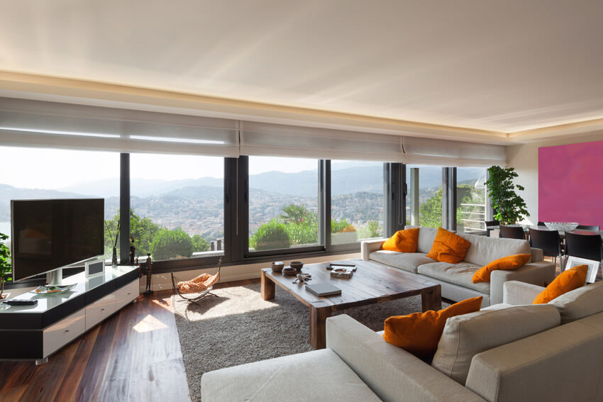 Contemporary Living Room With Large Sectional Couch