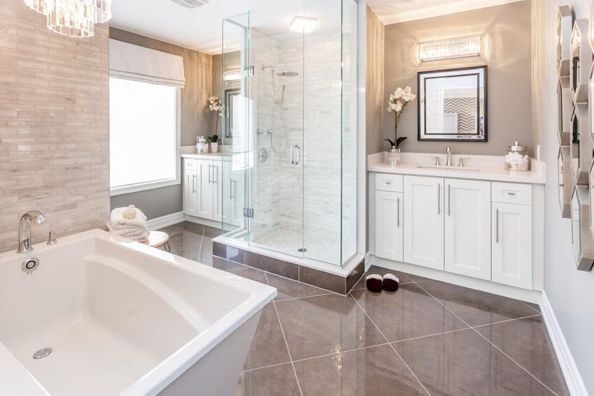 contemporary white luxury bath