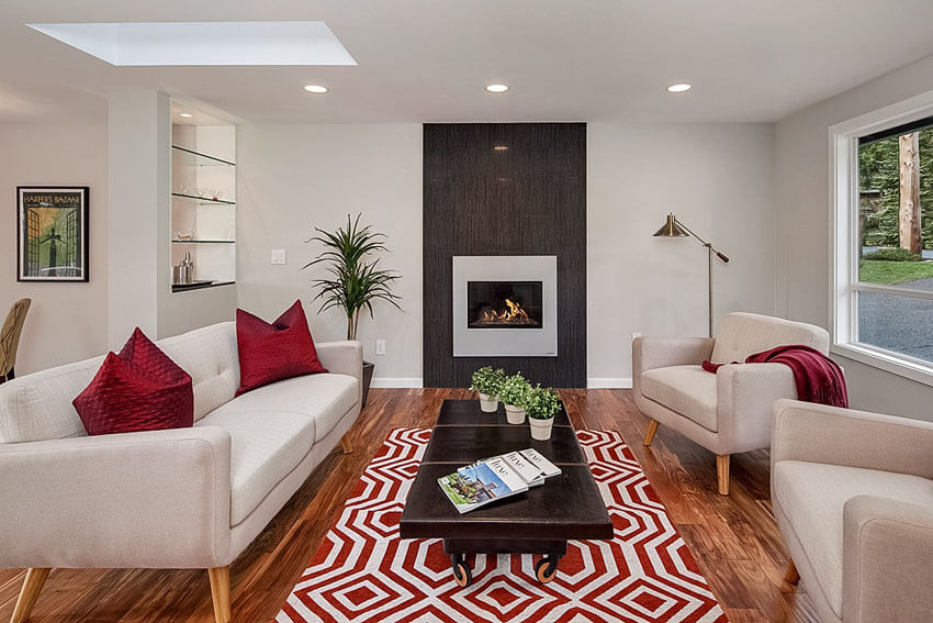 Cozy Contemporary Living Room With Gas Fireplace And Wood Floors