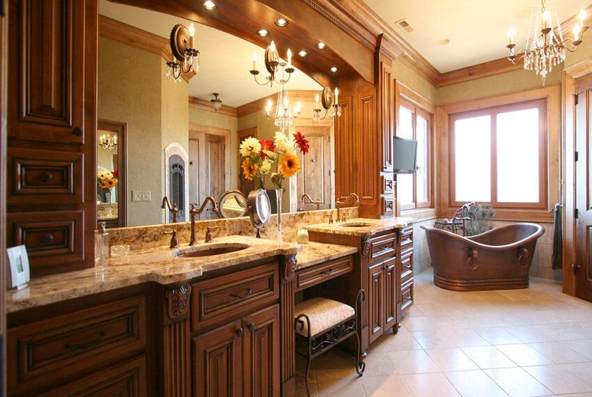 craftsman master bath with copper tub