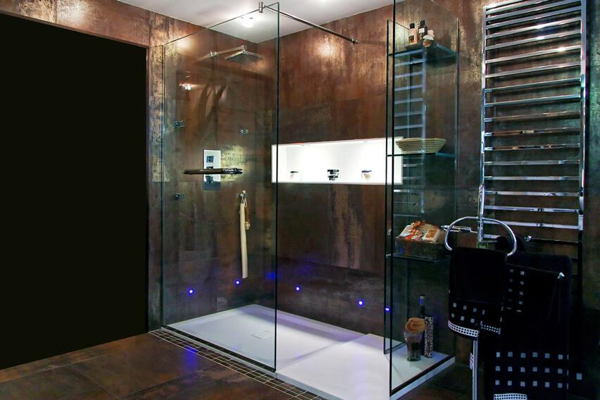 Dark luxury bath shower neon lighting chrome finish