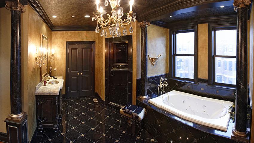 designer bathroom suite with elegant finishes