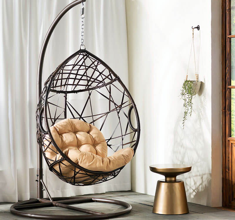 Egg Shaped Swinging Chair in Room
