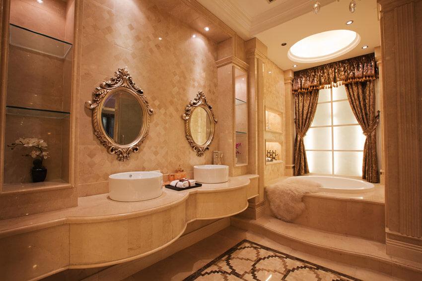 elegant bathroom with round sinks