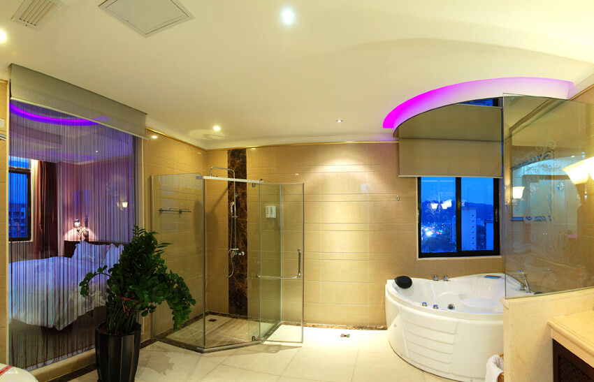 fancy bathroom with neon lighting