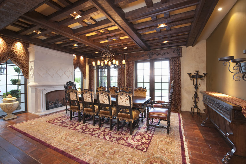 formal dining room with box ceiling