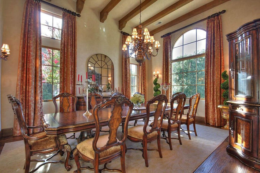 formal dining room with elegant wood table and chairs