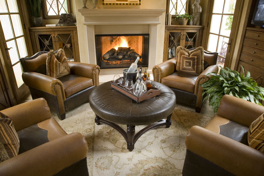 Formal Living Room With Brown Theme And Fireplace