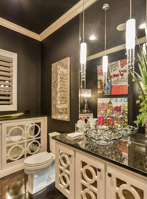 Glam Bathroom with Mini Pendant Lights