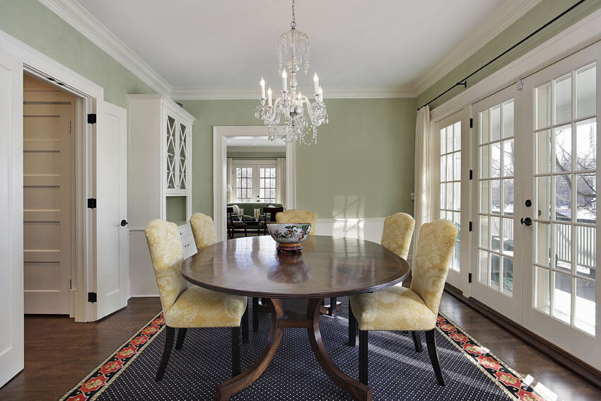 green painted formal dining room