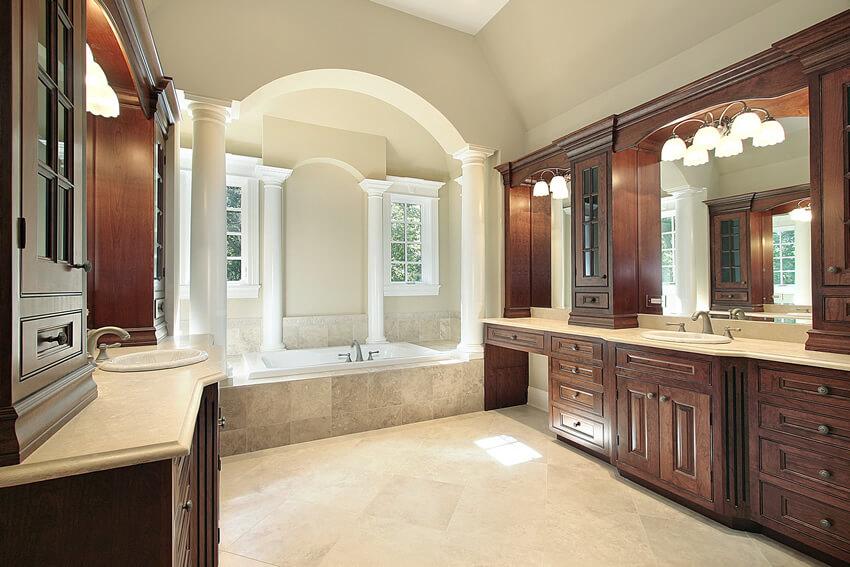 High end bath wood cabinets bath with pillars