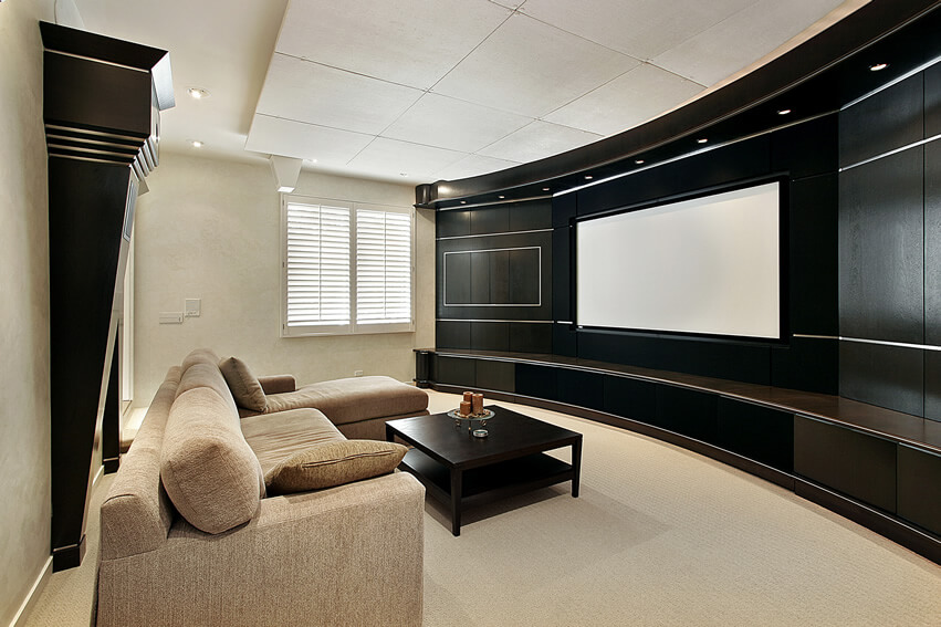 Home Theater Black Curved Wall Screen