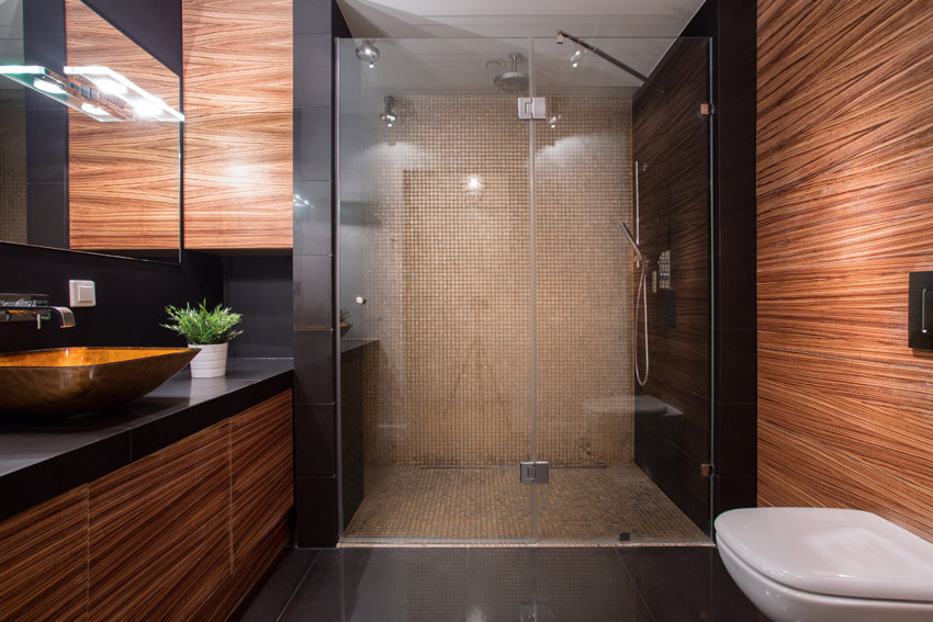 large glass shower in bathroom