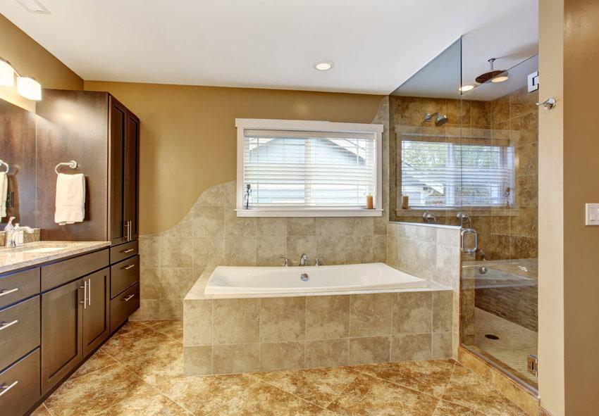 light brown luxury bathroom suite