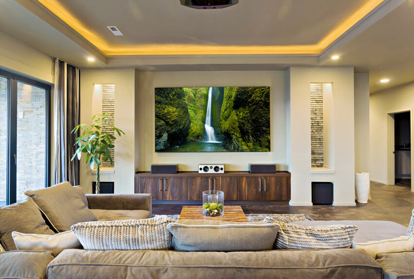 Living Room With Tray Ceiling Lighting