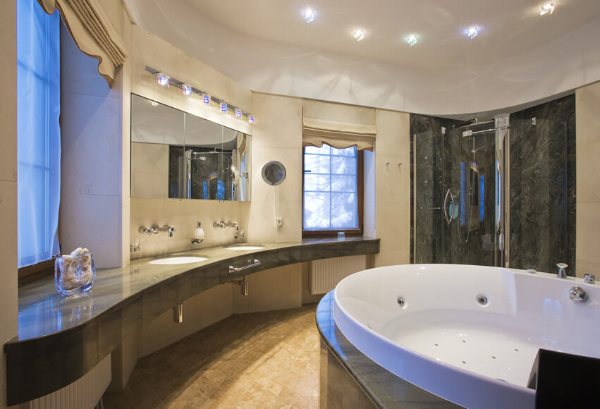 Luxury bathroom large jacuzzi tub black marble shower