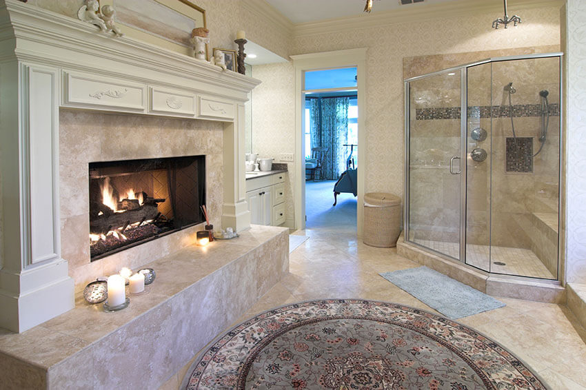luxury bathroom suite with large fireplace